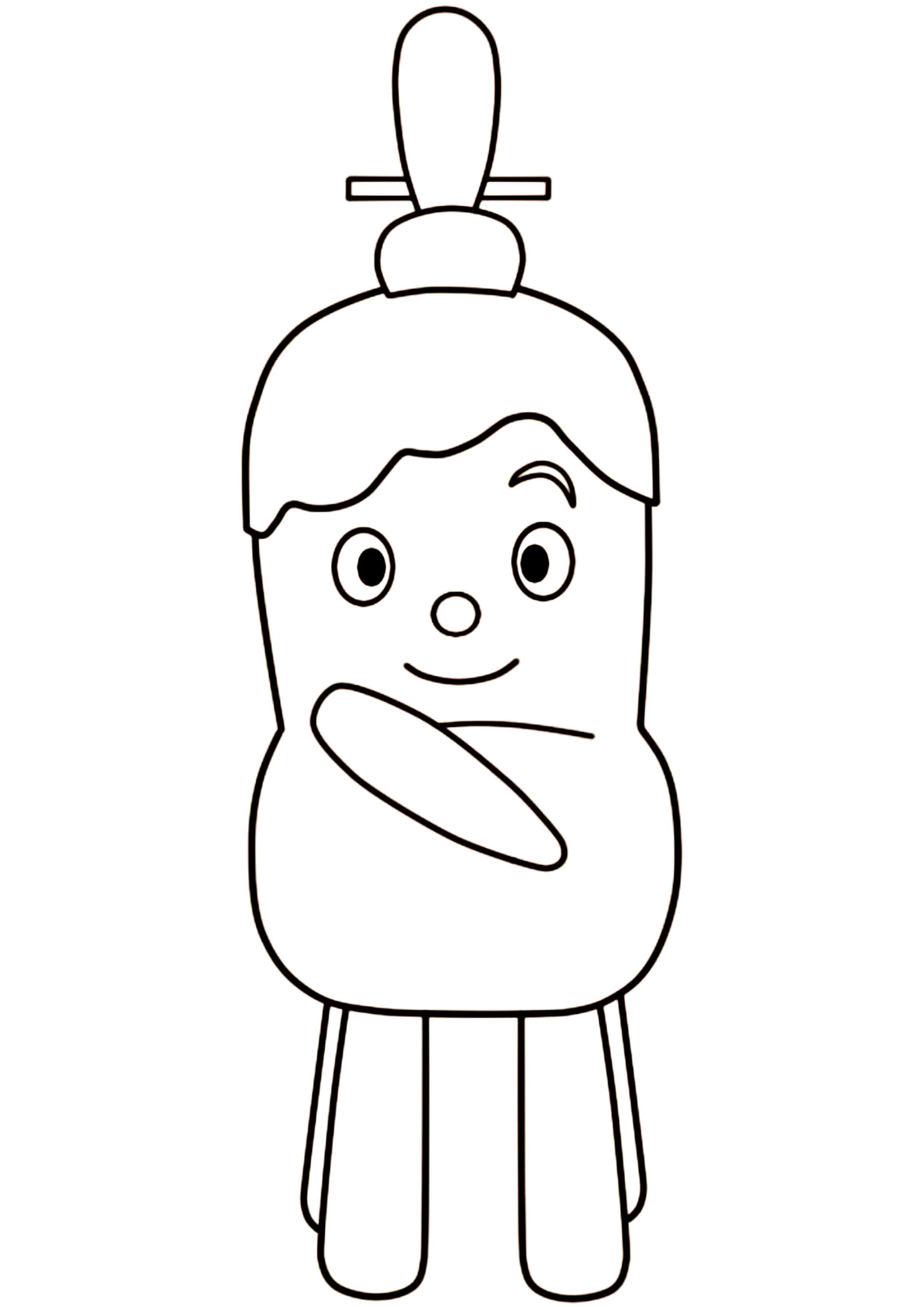 イスのまちのコッシー風ぬりえをひな祭り仕様 印刷用雛人形イラスト