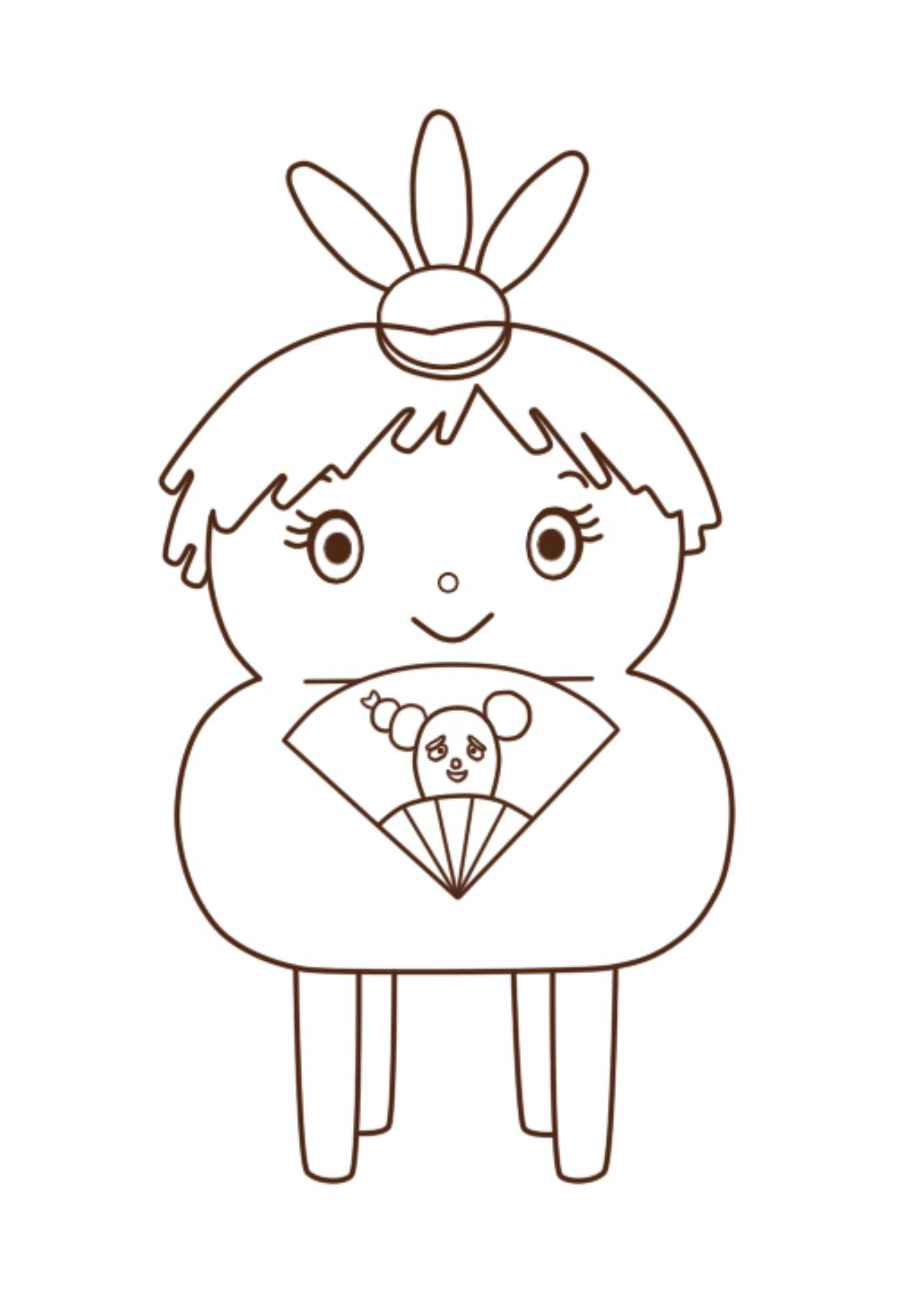 ひな祭りイラストのお雛様をみいつけたのレグ風に ぬりえと印刷用画像