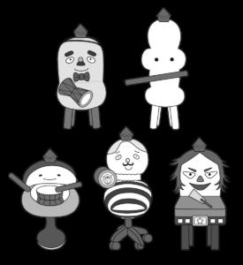 イスのまちのコッシー 五人囃子 白黒 フリー素材