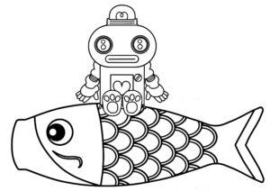 ガラピコ 鯉のぼり ぬりえ