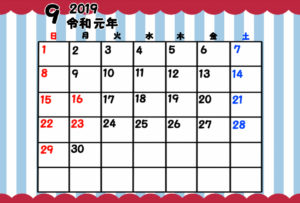 令和元年 9月 月間カレンダー 無料 ガーリー 日曜始まり