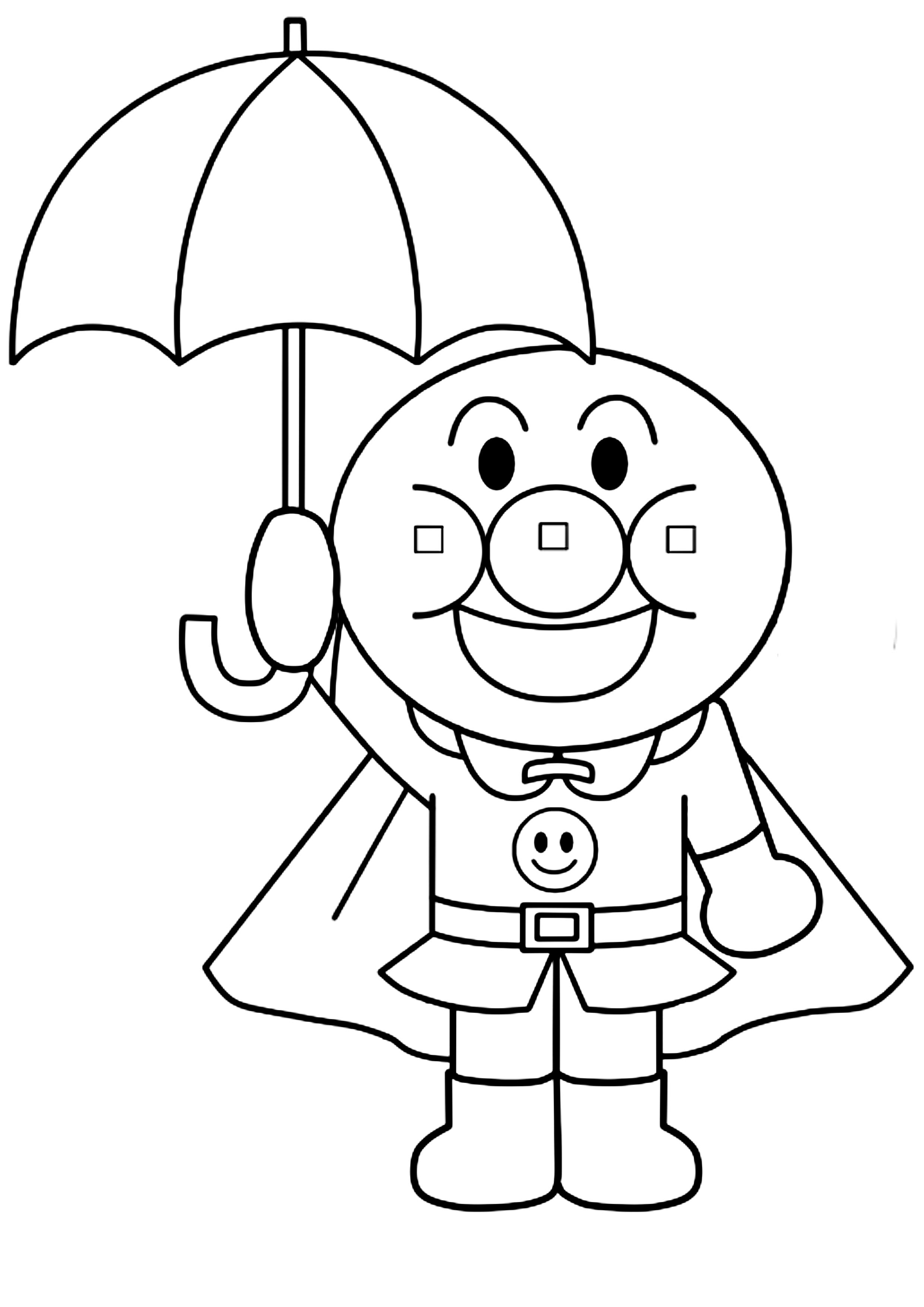 アンパンマン風ぬりえの雨の日イラスト 無料ダウンロード・印刷
