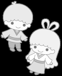キキララ 織り姫&彦星 白黒 フリー素材
