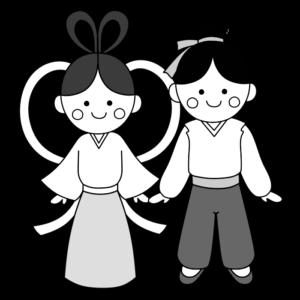 織り姫&彦星 白黒 フリー素材