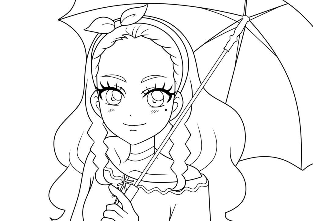 スター☆トゥインクルプリキュア ぬりえ キュアソレイユ 天宮えれな 傘