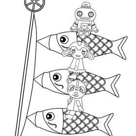 ガラピコぷ~ ぬりえ こどもの日 鯉のぼり