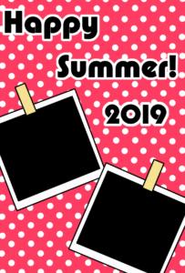 暑中見舞い 無料テンプレート 写真フレーム 令和元年 2019 縦 ピンク