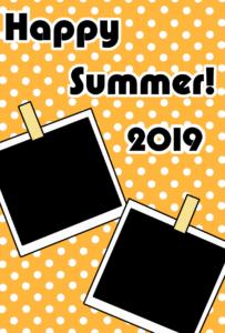 暑中見舞い 無料テンプレート 写真フレーム 令和元年 2019 縦 オレンジ