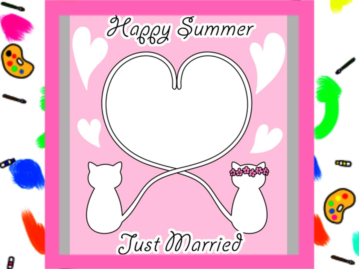 暑中見舞い結婚報告用無料テンプレート 写真フレーム 令和元年 はがき印刷用