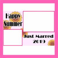 2019年の暑中見舞い結婚報告 無料テンプレート 写真フレーム はがき印刷用