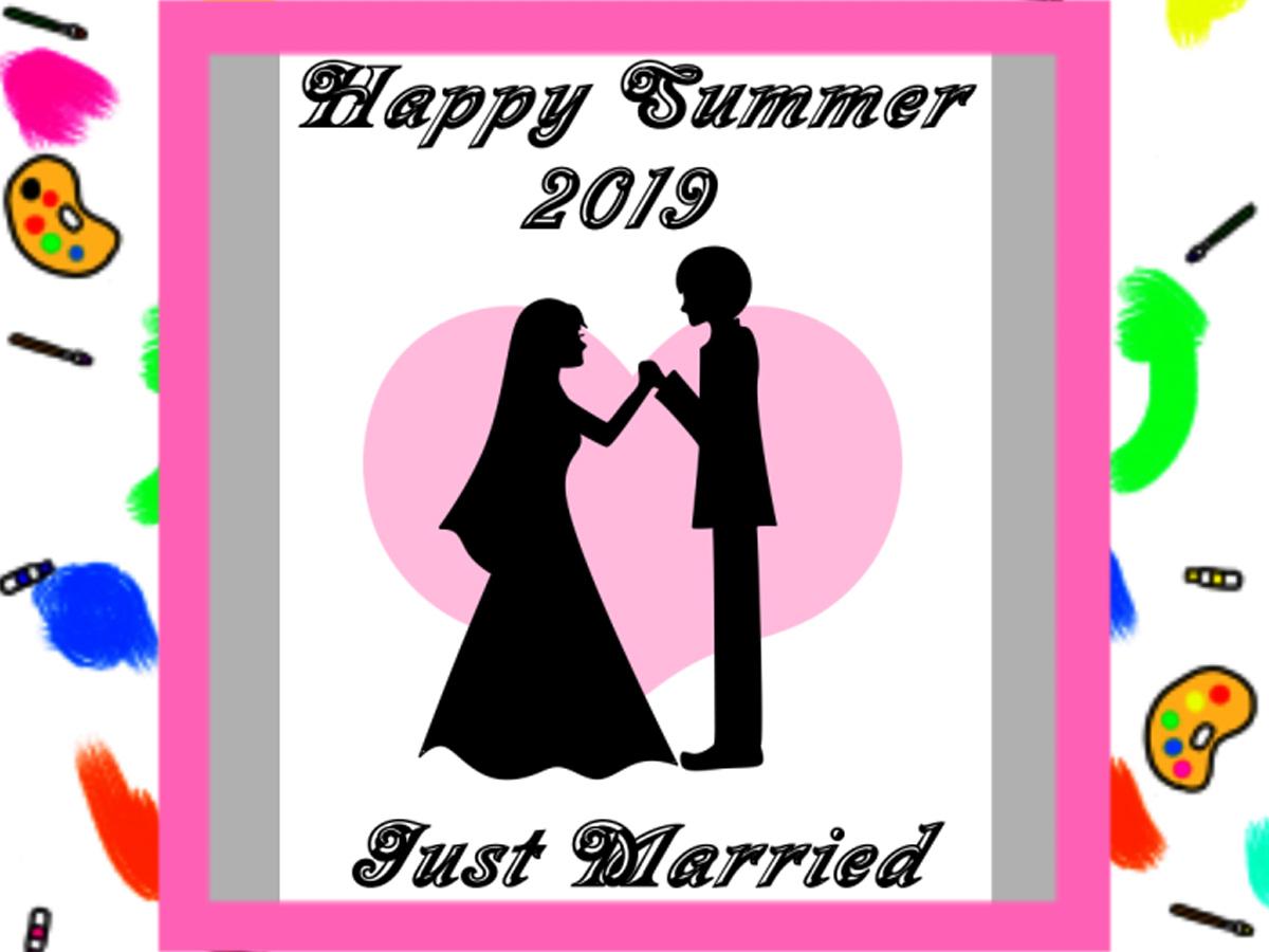 2019年の暑中見舞い結婚報告 無料テンプレート シルエットイラスト  はがき印刷用