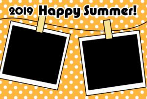 暑中見舞い 無料テンプレート 写真フレーム 令和元年 2019 横 オレンジ