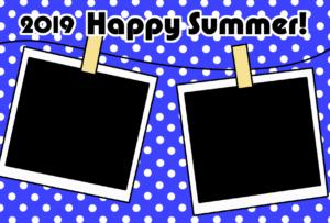 暑中見舞い 無料テンプレート 写真フレーム 令和元年 2019 横 青