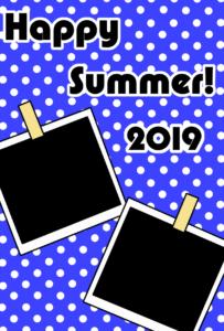暑中見舞い 無料テンプレート 写真フレーム 令和元年 2019 縦 青