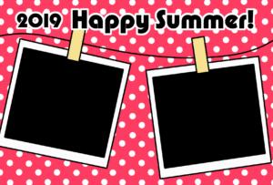 暑中見舞い 無料テンプレート 写真フレーム 令和元年 2019 横 ピンク