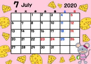 2020年 令和2年月間カレンダー 月曜始まり ねずみ 7月
