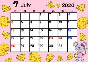 2020年 令和2年月間カレンダー 日曜始まり ねずみ 7月