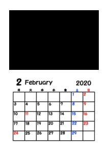 2020年カレンダー 写真フレーム 背景透過 令和2年2月
