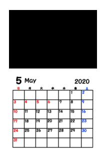 令和2年カレンダー 写真フレーム 背景透過 2020年5月