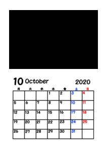 2020年カレンダー 写真フレーム 背景透過 令和2年10月