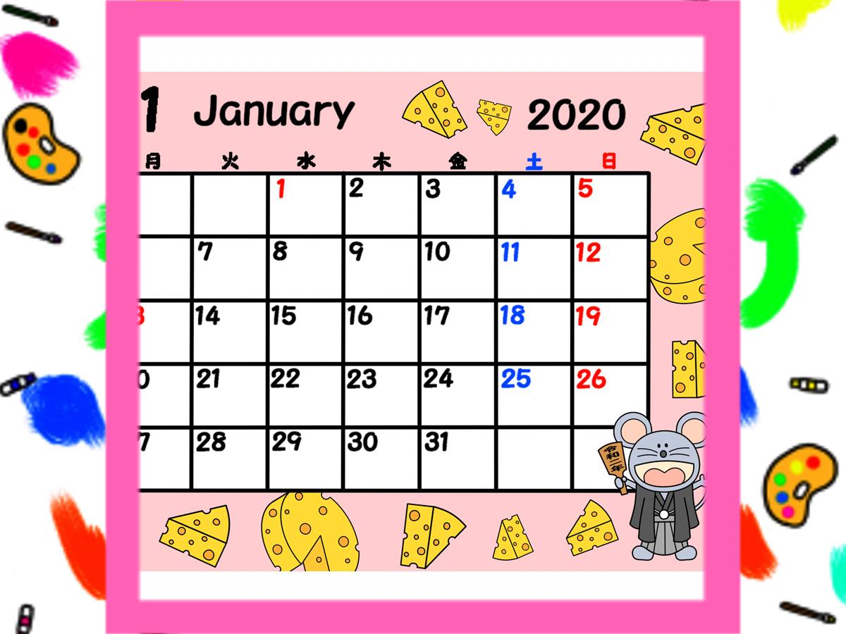 2020年 ねずみの月間カレンダー 月曜始まり 無料ダウンロード・印刷