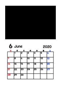 令和2年カレンダー 写真フレーム 背景透過 2020年6月