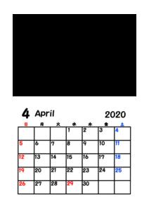 令和2年カレンダー 写真フレーム 背景透過 2020年4月