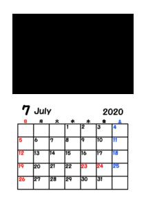 令和2年カレンダー 写真フレーム 背景透過 2020年7月