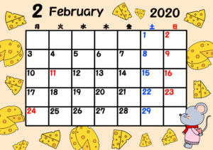 2020年 令和2年月間カレンダー 月曜始まり ねずみ 2月