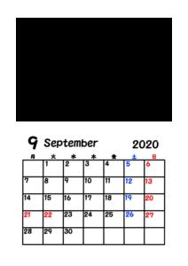 2020年カレンダー 写真フレーム 背景透過 令和2年9月