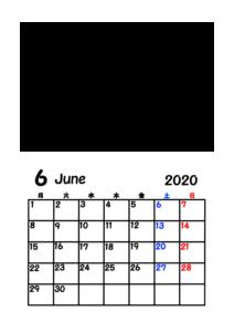 2020年カレンダー 写真フレーム 背景透過 令和2年6月