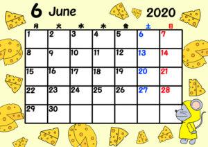2020年 令和2年月間カレンダー 月曜始まり ねずみ 6月