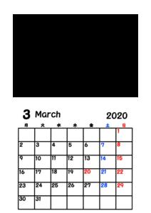 2020年カレンダー 写真フレーム 背景透過 令和2年3月