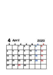 2020年カレンダー 写真フレーム 背景透過 令和2年4月