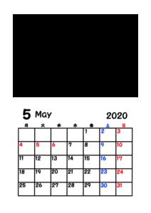 2020年カレンダー 写真フレーム 背景透過 令和2年5月