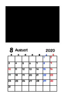 2020年カレンダー 写真フレーム 背景透過 令和2年8月