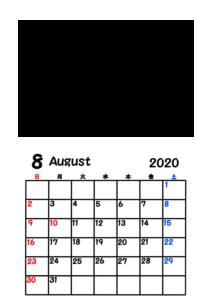 令和2年カレンダー 写真フレーム 背景透過 2020年8月