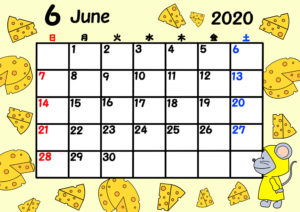 2020年 令和2年月間カレンダー 日曜始まり ねずみ 6月