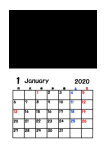 2020年カレンダー 写真フレーム 背景透過 令和2年1月