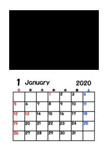 令和2年カレンダー 写真フレーム 背景透過 2020年1月