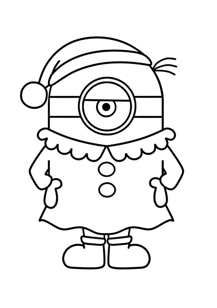 ミニオンズぬりえ クリスマス サンタガール
