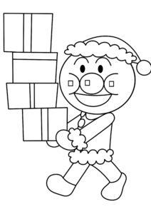 アンパンマン塗り絵 クリスマス