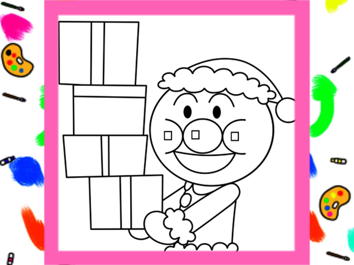 アンパンマン風クリスマス用ぬりえ 無料ダウンロード・印刷