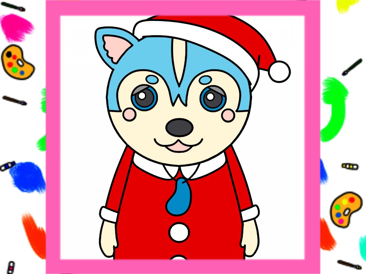 クリスマス用ガラピコぷ~風イラストの印刷用フリー素材