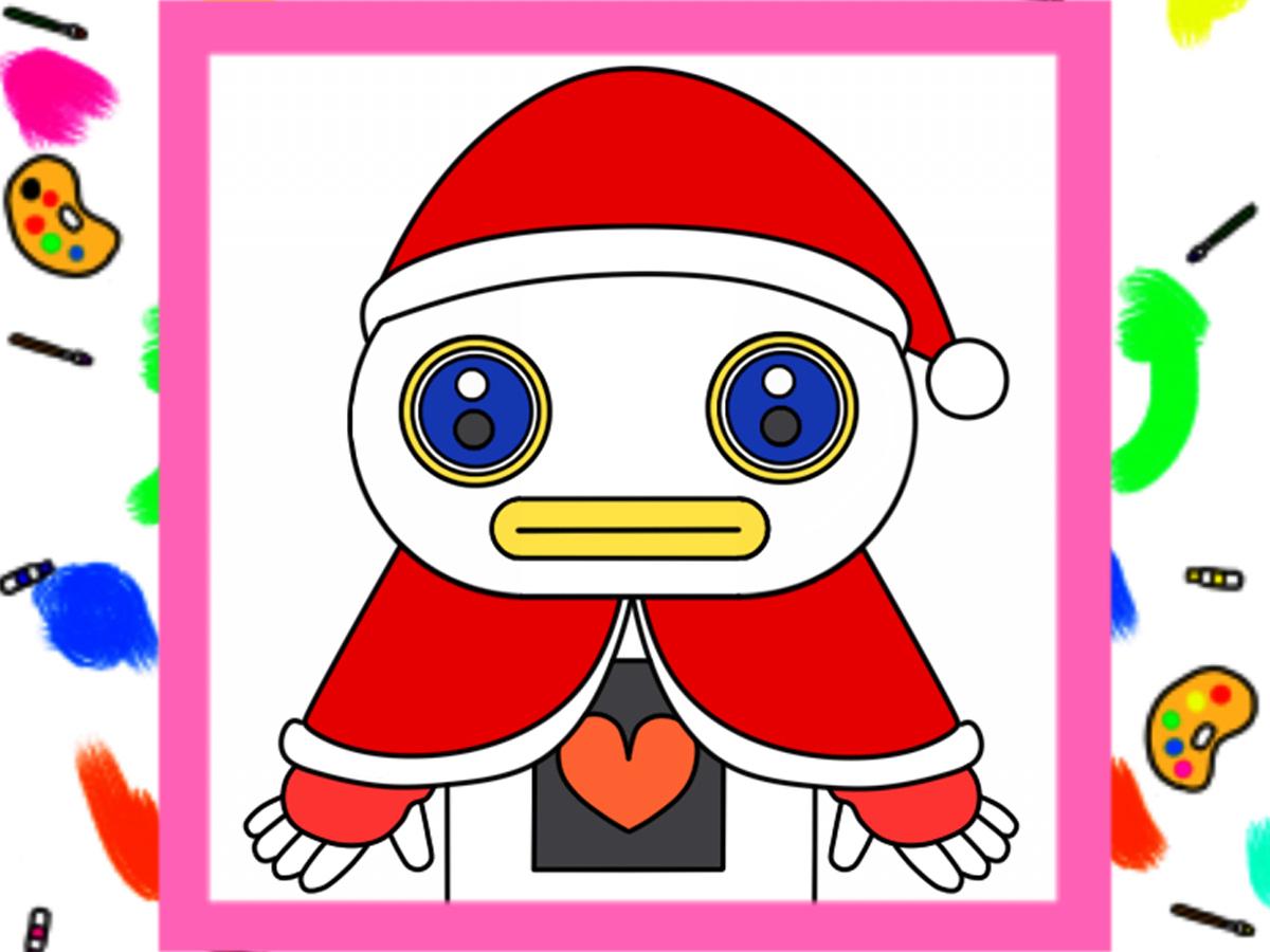 ガラピコぷ~風クリスマスイラストのフリー素材  背景透過PNG形式