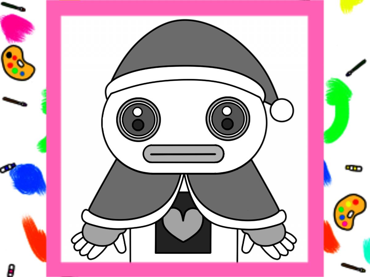 クリスマス用ガラピコぷ~風白黒フリー素材  背景透過PNG形式