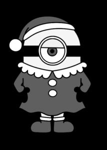 ミニオンズ クリスマス 白黒フリー素材 サンタガール