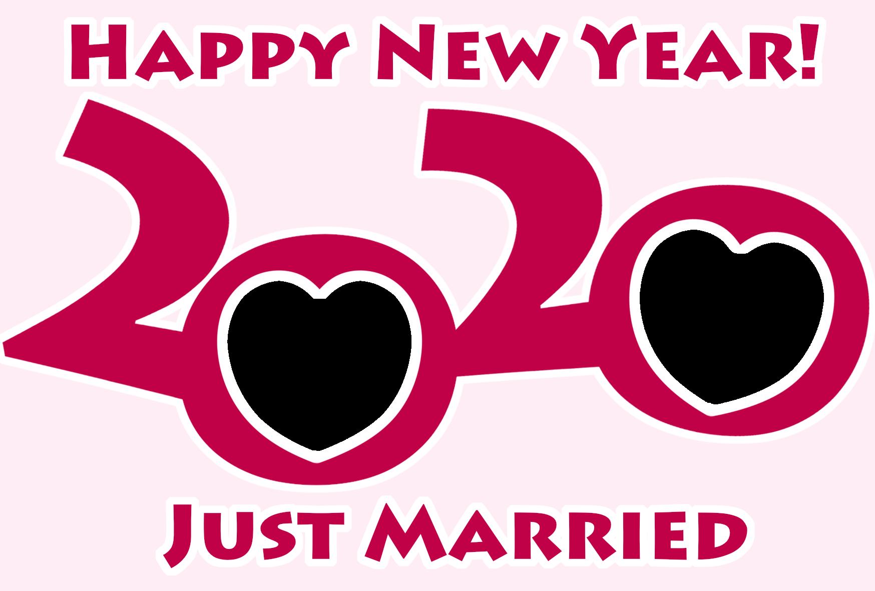 2020年 年賀状 令和2年結婚報告 写真フレーム 横書き