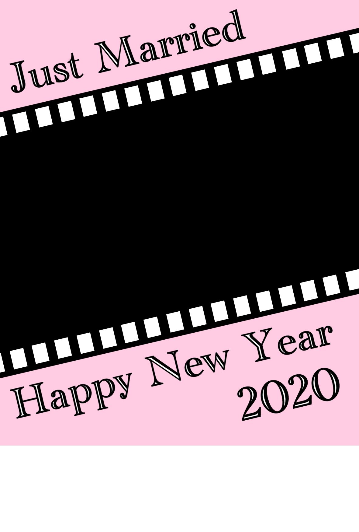 2020年 年賀状 令和2年結婚報告 フィルム型写真フレーム 縦書き