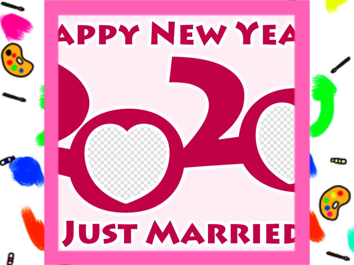 2020年 年賀状結婚報告 写真フレーム入りの無料テンプレート